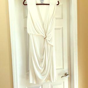 Wonderful white faux wrap sheath dress